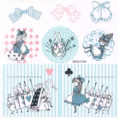 cute Alice in Wonderland fairy tale Washi stickers Shinzi Katoh 1