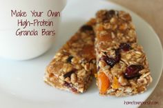 Homemade high-protein granola bars. Healthier and less expensive than store bought.