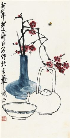 Artworks of Qi Baishi (Chinese, 1863 - Sumi E Painting, Japan Painting, China Painting, Japanese Calligraphy, Calligraphy Art, Chinese Painting Flowers, Art Asiatique, China Art, Tea Art