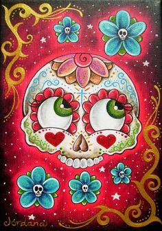 Original custom sugar skull painting by Jordana by sugarcoffin, $50.00