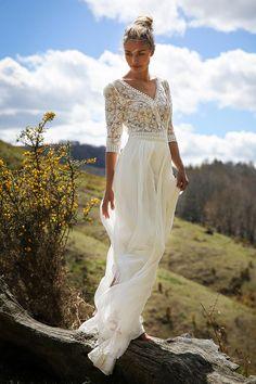 Marie Laporte Long dress in silk chiffon and Calais lace. Lace Beach Wedding Dress, Country Wedding Dresses, Wedding Gowns, White Boho Dress, White Lace, Maxi Dress With Sleeves, Lace Dress, Maxi Dresses, Lace Chiffon