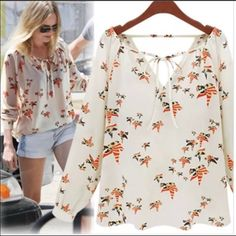 New S print peasant blouse New in package condition. Size small. Chiffon. Sheer Tops Blouses