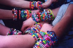 Kandi bracelets are the best kind of bracelets to make because they are a great expression of yourself as well as a great thing to do in order to bond with friends. In order to make these, you should have beads and some elastic string. Design it any way you want with different colors and get creative! They're always fun to wear at outings or concerts!