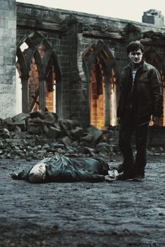 """""""Tom Riddle hit the floor with a mundane finality, his body feeble and shrunken, the white hands empty, the snakelike face vacant and unknowing. Voldemort as dead, killed by his own rebounding curse, and Harry stood with two wands in his hand, staring down at his enemy's shell."""""""