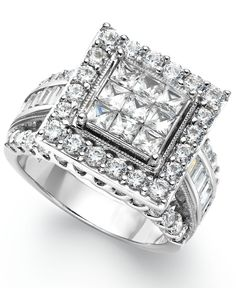 Diamond Square Engagement Ring in 14k White Gold (3 ct. t.w.) <3 *I would wear as a right hand ring!*