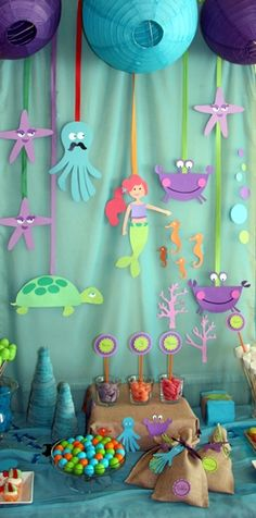 Under the sea birthday Little Mermaid Birthday, Little Mermaid Parties, Diy Party Decorations, Birthday Decorations, Ocean Party, Under The Sea Party, Baby Party, Childrens Party, Party Time