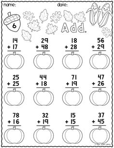 Print & Go Two-Digit Addition Printables {Autumn} Math Addition Worksheets, Math Practice Worksheets, First Grade Math Worksheets, School Worksheets, 1st Grade Math, Math Resources, Math Exercises, Math For Kids, Math Lessons