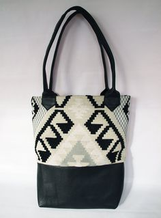 Geometric Kilim Fabric and Leather Tote Bag by kertis on Etsy