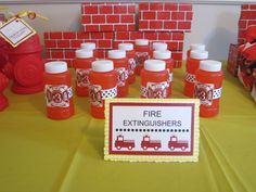 Fire extinguishers -- aka bubbles -- for fireman party