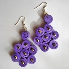 Curly b orecchini in moosgummi e strass viola - handmade
