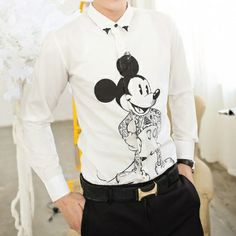 Promotion 2014 Summer Spirng Cute Micky Mouse Print Fashion Men's Cool Slim Office Party Casual Club Shirt Drop Shipping