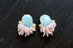 Coral & gemstone cluster earrings. Beautiful pastel colors!