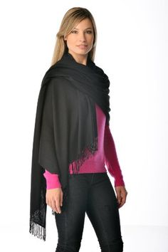 Pashmina Shawl With Beaded Tassels  Black Black >>> You can get additional details at the image link.