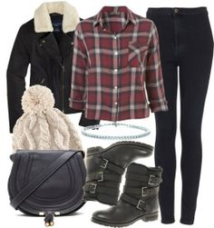 leather jackets, black aa jeans, red flannel, black boots, blue beanie