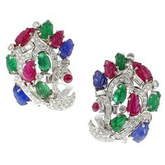 Cartier Paris Magnificent Tutti Frutti Diamond Gold Earrings | From a unique collection of vintage clip-on earrings at https://www.1stdibs.com/jewelry/earrings/clip-on-earrings/