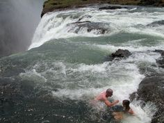 Devil's swimming pool by Death plunge waterfall