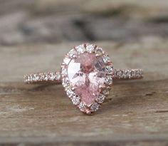 Pear Cut Light Peach Sapphire Diamond Halo Ring in 14K Rose Gold