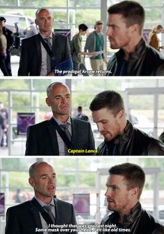"""""""The prodigal Arrow returns"""" - Quentin Lance and Oliver #Arrow"""