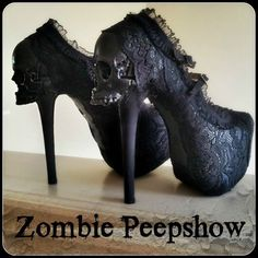 Zombie Peepshow black lace skull heels ~ I wish I could walk in these because she makes the coolest shoes ever!!!