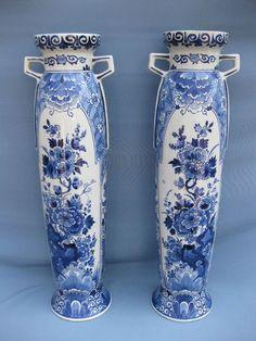 Online veilinghuis Catawiki: Porceleyne Fles - Paar zeldzame grote cilinder vazen