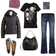 puffy jacket and belted flats @Courtney LeClaire those items remind me of you, maybe the purse too :)