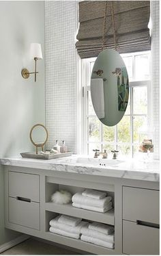 Bathroom Mirror Ideas that are Beautiful and Decorative 2018 Midcentury modern bathroom Ikea bathroom Powder room Bathroom inspiration Specchio bagno Mirror ideas Bad Inspiration, Bathroom Inspiration, Home Luxury, Luxury Bath, Floating Vanity, Bathroom Windows, Interior Decorating, Interior Design, Diy Interior