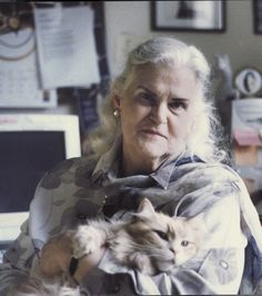 Anne McCaffrey (with cat) - she was the first female fantasy writer I read - and she wrote about dragons!