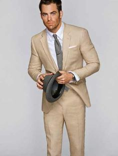 Possible suit for our summer wedding?  Also...Cream and Grey!!!! I knew it would work!