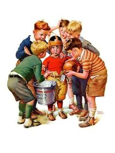 """""""You Can Be the Water Boy!"""" is a painted illustration by Norman Rockwell for the November 1937 edition of The Saturday Evening Post. Old Magazines, Vintage Magazines, Vintage Ads, Norman Rockwell Prints, Norman Rockwell Paintings, Saturday Evening Post, American Artists, Vintage Children, Graphic"""