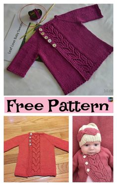 The New Pretty Knit Baby Cardigan - Free Pattern . The New Pretty Knit Baby Cardigan - Free Pattern . Baby Cardigan Knitting Pattern Free, Baby Sweater Patterns, Knitted Baby Cardigan, Knit Baby Sweaters, Baby Pullover, Knitted Baby Clothes, Cardigan Pattern, Girls Sweaters, Baby Patterns