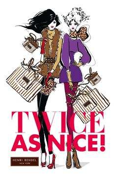 Twice as Nice! henri bender illustrations  www.SocietyOfWomenWhoLoveShoes.org https://www.facebook.com/SWWLS.Dallas