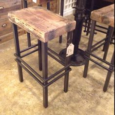 wood and steel stools