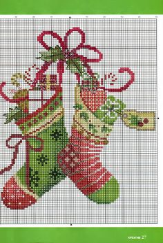 Christmas Stockings Cross Stitch. Repinned by www.mygrowingtraditions.com