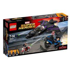 LEGO Super Heróis - Perseguição do Pantera Negra, um set da série Lego Marvel Captain America Movie que contém 287 peças, das quais 3 mini figuras (o Pantera Negra, o Capitão América e o Soldado de Inverno) e todo o necessário para recriar uma super perseguição com o avião a jato do Pantera Negra, o 4x4 do Capitão América e a moto do Soldado de Inverno. Dispara os canhões contra o Soldado de Inverno enquanto tenta fugir na sua moto.