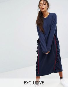ASOS | Monki Ruffle Contrast Sweat Dress