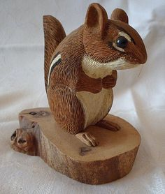 """Vtg Ray Showman Ohio Artist Signed 1987 Wood Chipmunk Hand Carved Painted 4.25"""""""