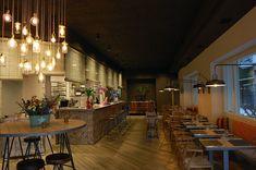 Iluminación de restaurante con lamparas de estilo vintage industrial
