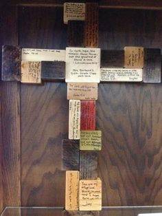 A 6th grade art project.  Each student wrote a favorite scripture verse on a block of wood.