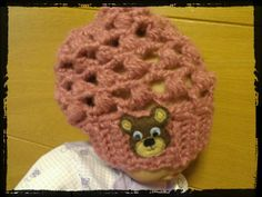 Cute mesh style slouchy baby hat with teddy bear by wasylko76, $20.00