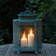 French Blue Antique Style Lantern