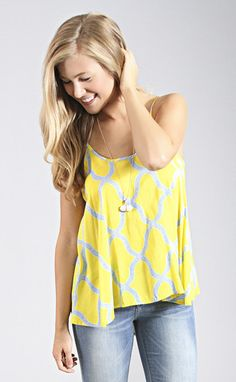 ff546a970184 prints and the proper split back tank - yellow--get 15% off + Free shipping  w code