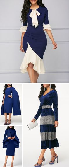 Feel your best in these blue dresses with an asymmetrical hem.Find the perfect dress for all your holiday occasions at Rotita.These navy styles will have you feeling royally fashionable. Cheap Blue Dresses, Sexy Dresses, Cute Dresses, Beautiful Dresses, Casual Dresses, Party Dress Sale, Club Party Dresses, Cute Dress Outfits, Unique Outfits