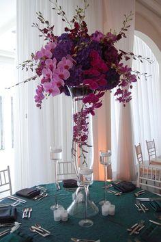 Wedding centrepiece inspiration - Dutch hydrangea and orchids - tall centrepiece