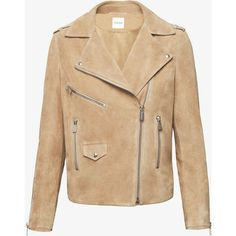 BIKER SUEDE JACKET IN BEIGE (61.150 RUB) ❤ liked on Polyvore featuring outerwear, jackets, zip jacket, suede motorcycle jacket, biker style jacket, motorcycle jacket and zipper jacket