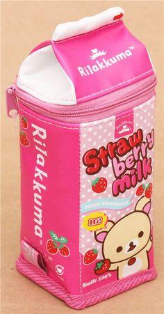 San-X Korilakkuma Rilakkuma Pink Strawberry Milk Zip Storage Pencil Case / Makeup Cosmetic Bag