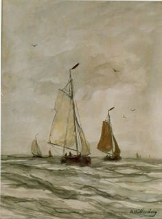 Hendrik Willem Mesdag (Groningen 1831-1915 Den Haag) Fishing boats at sea - Dutch Art Gallery Simonis and Buunk Ede, Netherlands.