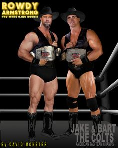 Meet JAKE & BART COLT, former American Heavyweight Tag Team Champs & current Head Trainers of the A.W.P.W. Main Training Facility - from the www.AllWorldsProWrestling.com Text-based, Multi-Choice game in the www.RowdyArmstrong.com Universe of Gay Erotic Pro Wrestling Novels: #Muscle #Erotic #GayProWrestling #Gay #Wrestling Less Wrestling Games, Wrestling News, Red Hair, Brown Hair, Black Hair, Scott Evans, Confused Feelings, Jersey Boys, Hazel Eyes