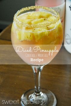Pink Diced Pineapple Cocktail Recipe, party idea. Chilled pineapple, pink grapefruit juice, and turbinado sugar. Pin now...read later!