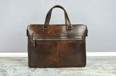 Mens Brown Leather Briefcase. Genuine Leather by TimeResistance