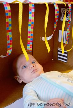 This DIY discovery box for baby will be fun for infants and older siblings to play with.